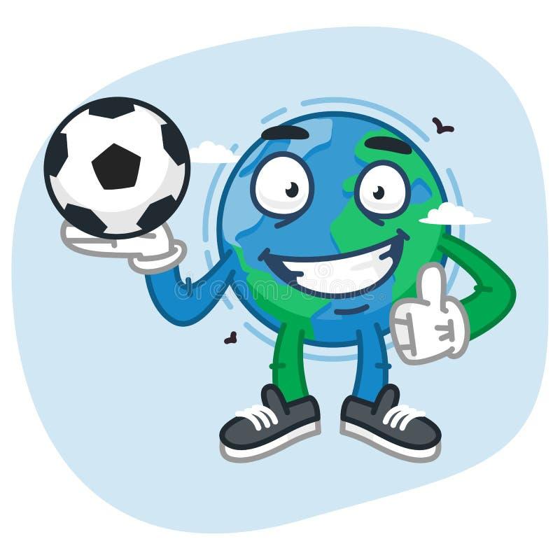 Teckenjord rymmer fotbollbollen royaltyfri illustrationer