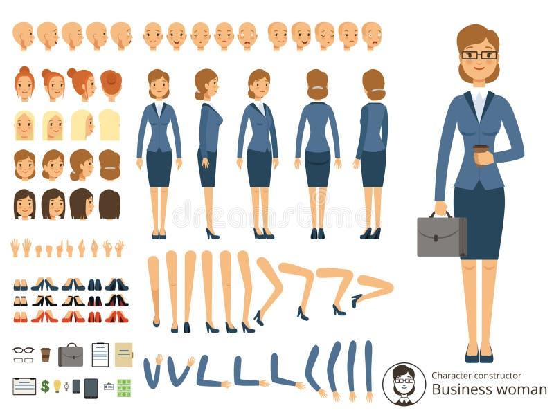 Teckenkonstruktör av affärskvinnan Tecknad filmvektorillustrationer av olika kroppsdelar och tematiska beståndsdelar royaltyfri illustrationer