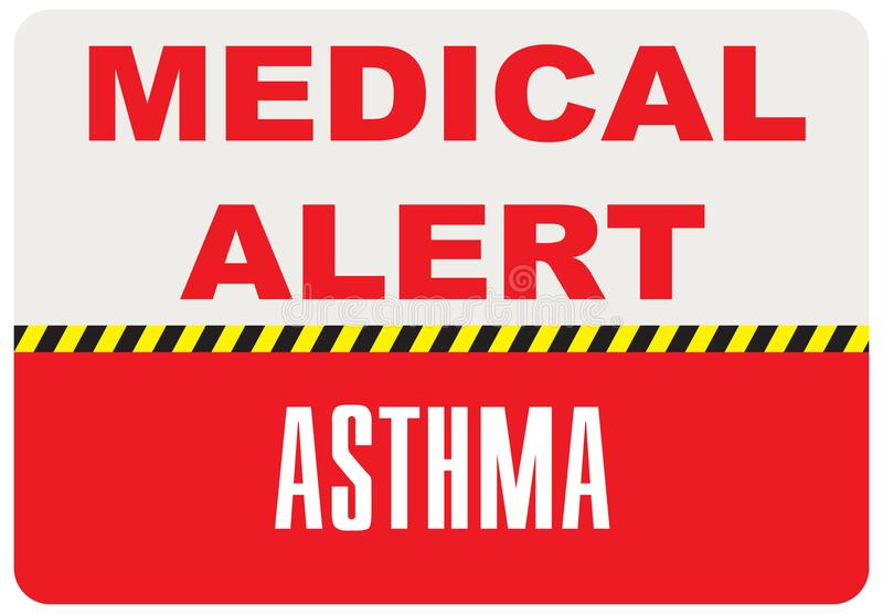Teckenläkarundersökningvarning - astma royaltyfri illustrationer