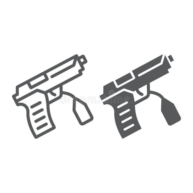 Teckenlinje och skårasymbol, lag och brott, vapentecken, vektordiagram, en linjär modell på en vit bakgrund vektor illustrationer