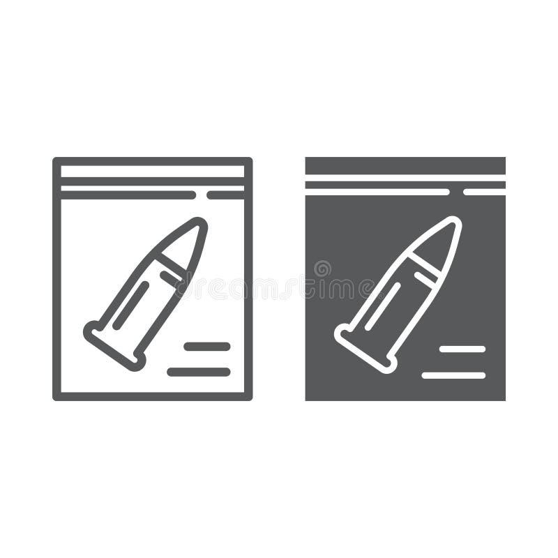 Teckenlinje och skårasymbol, utredning och brottsligt, kulteckentecken, vektordiagram, en linjär modell på a stock illustrationer