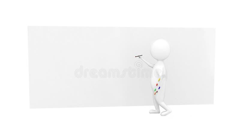 teckenmålning för konstnär 3d på en stor tom kanfasconept fotografering för bildbyråer