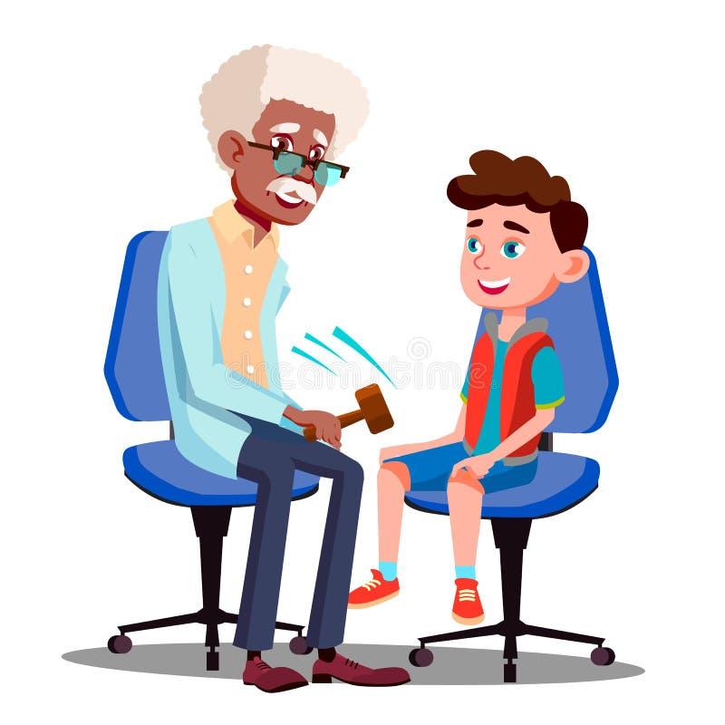 Teckenneurolog som kontrollerar pojkereflexvektorn stock illustrationer
