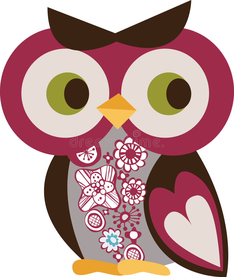 teckenowl royaltyfri illustrationer