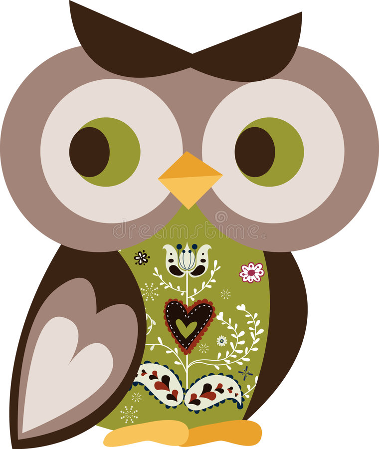 teckenowl stock illustrationer