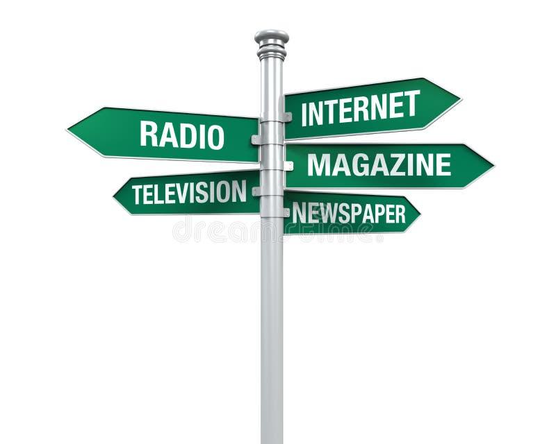 Teckenriktningar av information om massmedia vektor illustrationer