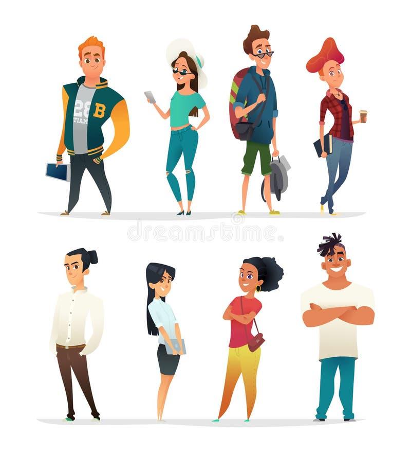 Teckensamling av charmiga ungdomar Studenter av olika nationaliteter i tecknad filmstil Vektordesigne royaltyfri illustrationer
