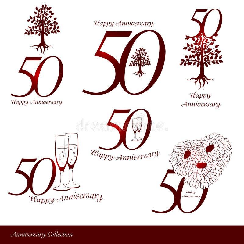 Teckensamling för årsdag 50th vektor illustrationer