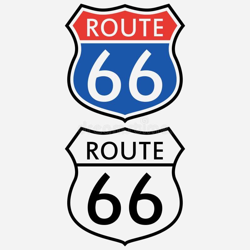Teckenset för Route 66 Det första vägmärket i Amerika vektor vektor illustrationer
