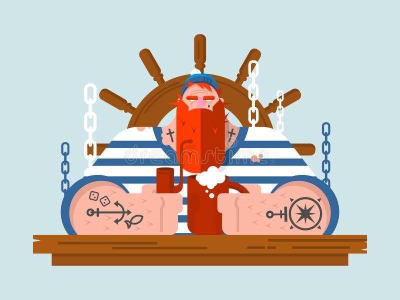 Teckensjöman stock illustrationer