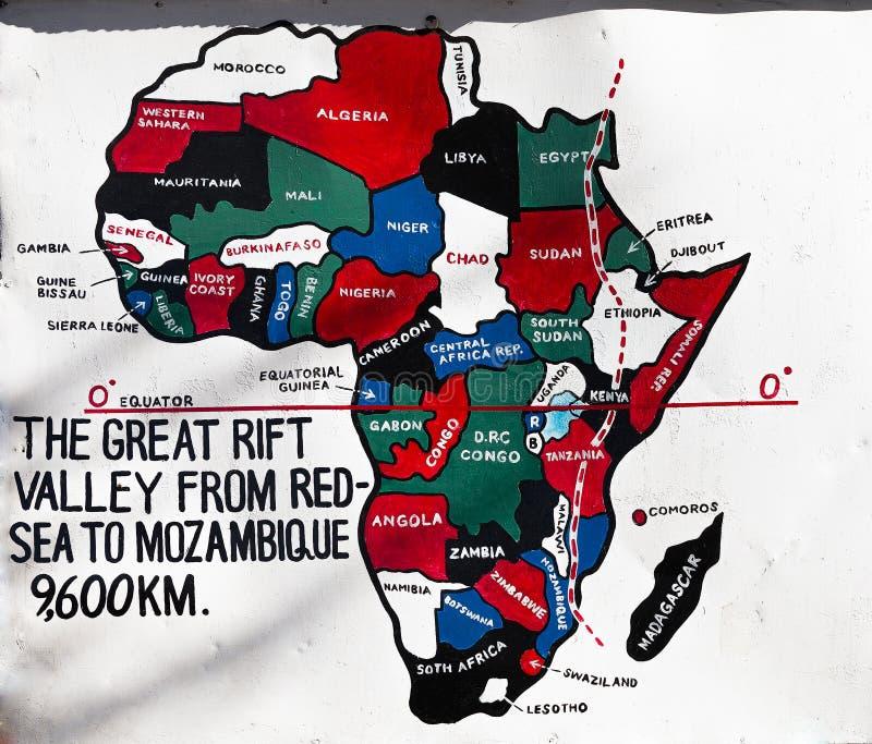 Teckenstolpe för den stora Rift Valley i Kenya, Afrika royaltyfri foto
