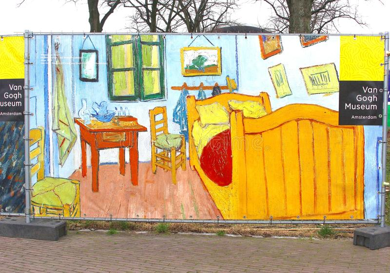 Teckenstolpe till Vincent van Gogh Museum, Amsterdam royaltyfria bilder