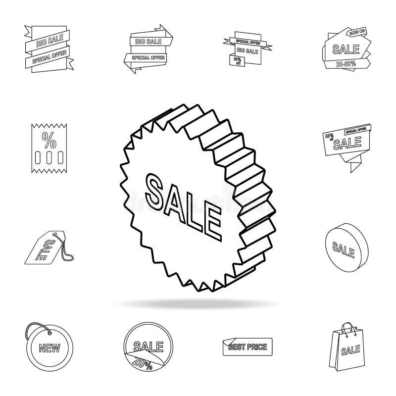 teckensymbol för försäljning 3d Detaljerad uppsättning av utförsäljningsymboler Högvärdig grafisk design En av samlingssymbolerna stock illustrationer