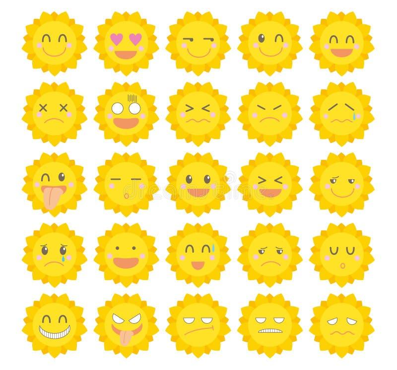 Teckensymbolsuppsättning ·, Gullig sol stock illustrationer