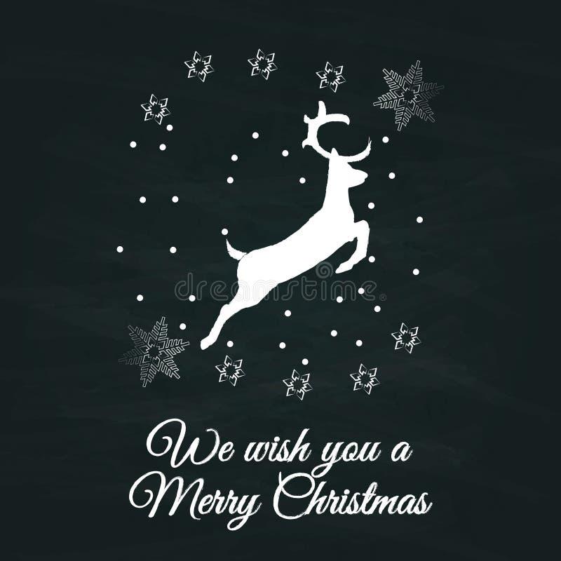 Teckentappning för glad jul skissar stil med hjortar på den svart tavlan för grunge stock illustrationer