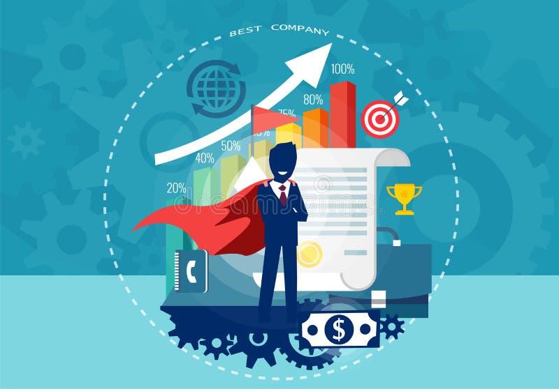 Teckentecknad film av affärsmannen för toppen hjälte med lyckad finansiell karriär stock illustrationer