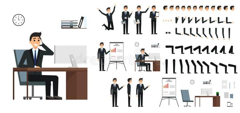 Teckenvektoruppsättning Manlig affärsmanteckendesign i den isolerade plana designen Sinnesrörelser, framsida, ben och armar och a stock illustrationer