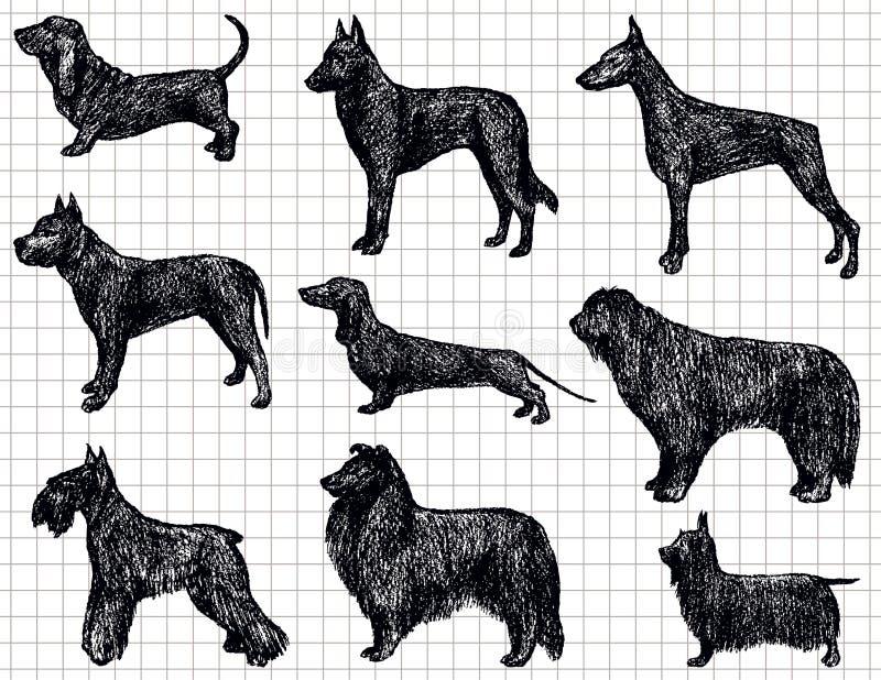 teckna för hundar stock illustrationer