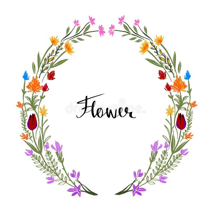 tecknad blom- ramhand Ordnade gulliga retro blommor en form av royaltyfri illustrationer