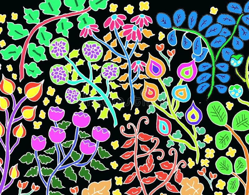 tecknad blommahand royaltyfri bild