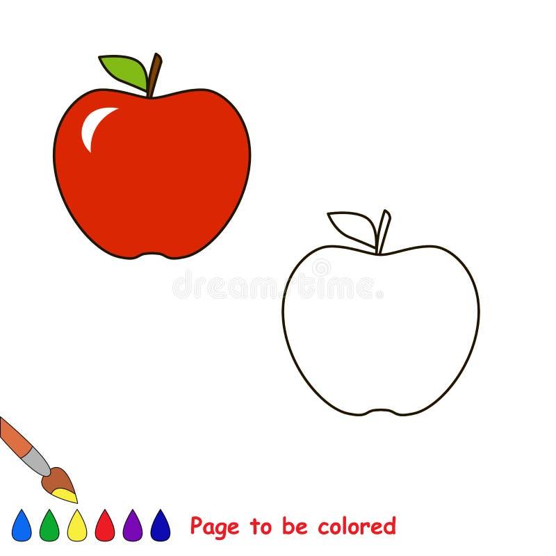 Tecknad filmäpple som ska färgas royaltyfri illustrationer