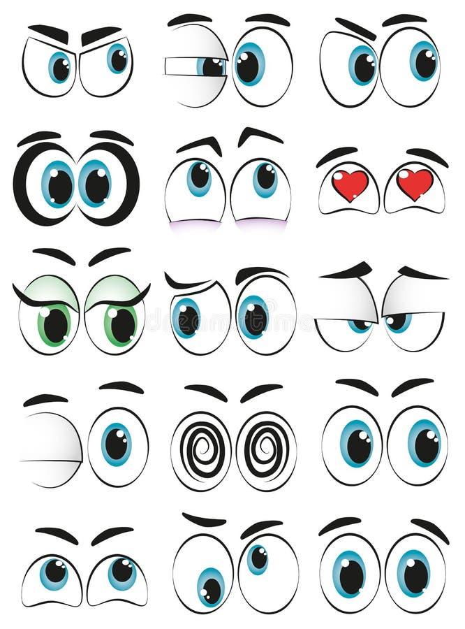 Tecknad filmögon vektor illustrationer