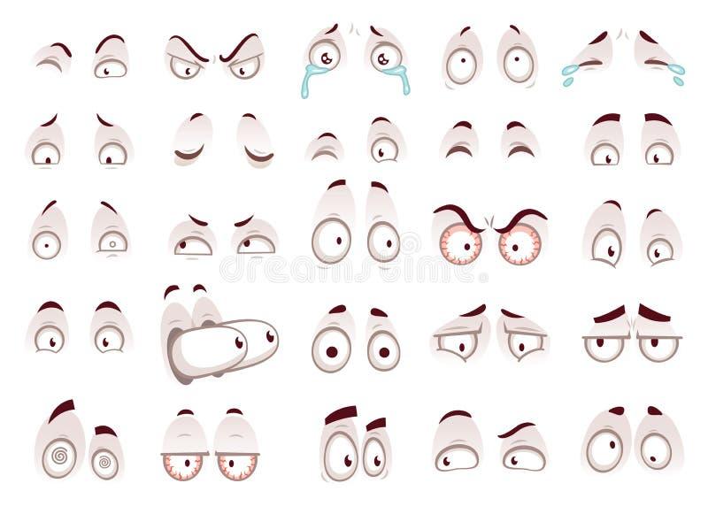 Tecknad filmögon Särar den stirriga blickklockan för det komiska ögat, den roliga framsidan vektorn isolerade illustrationuppsätt vektor illustrationer