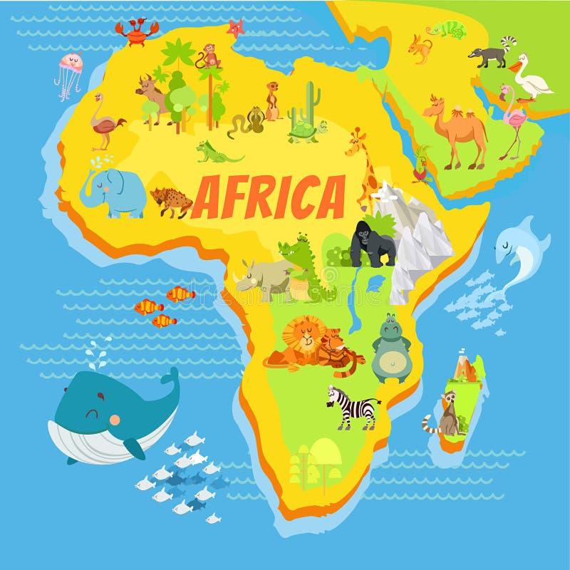 Tecknad filmöversikt av africa med djur royaltyfri fotografi