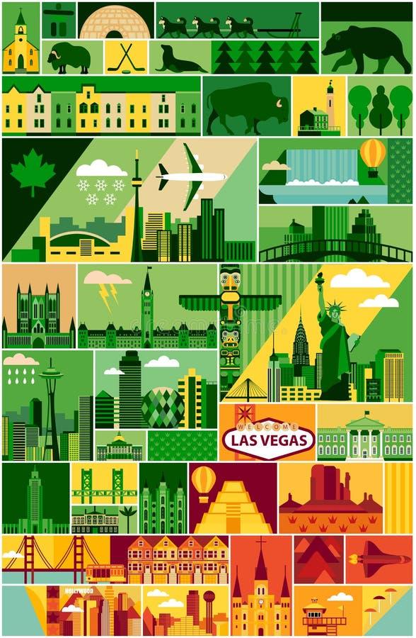 Tecknad filmöversikt av Nordamerika vektor illustrationer