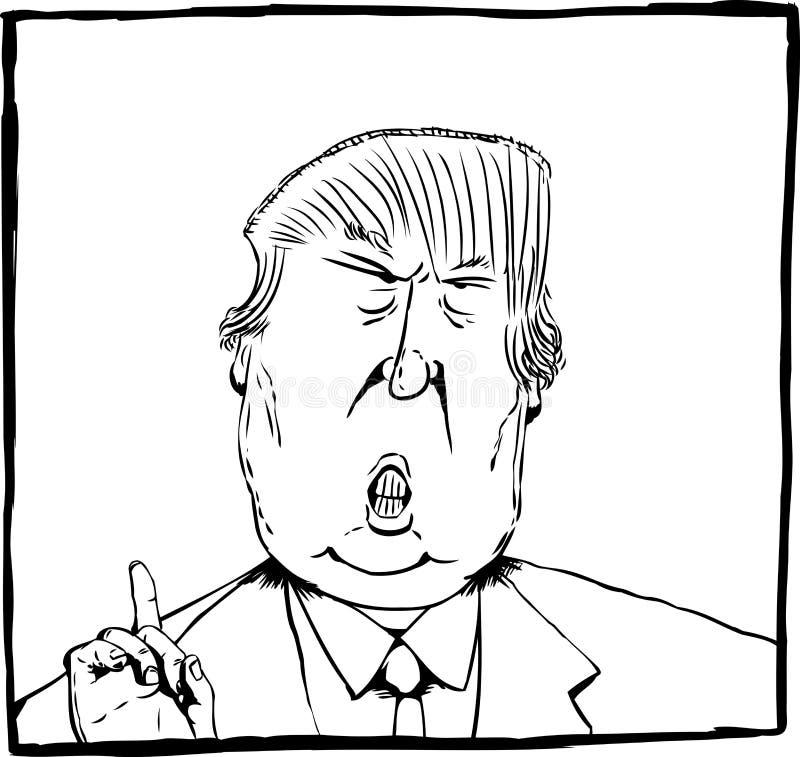 Tecknad filmöversiktskarikatyr av Donald Trump royaltyfri illustrationer