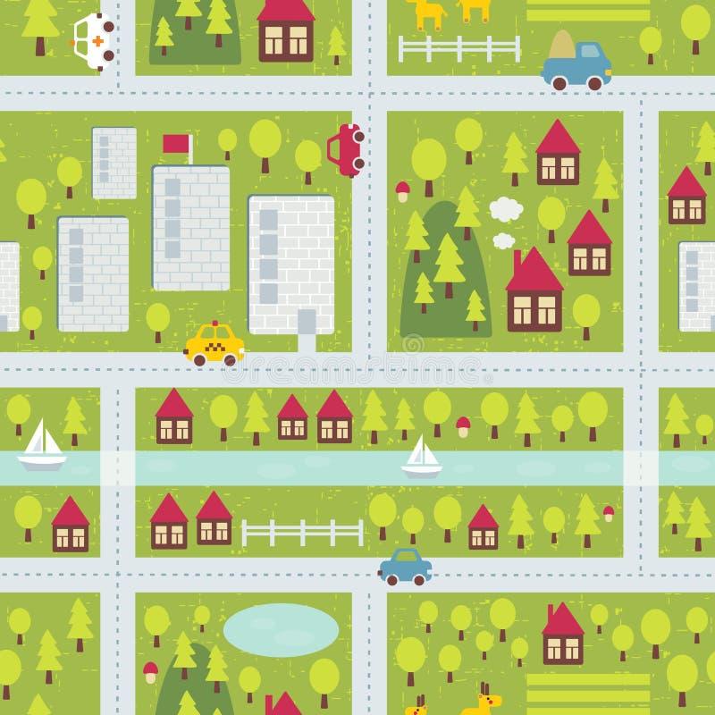 Tecknad filmöversiktsmodell av lilla staden. royaltyfri illustrationer