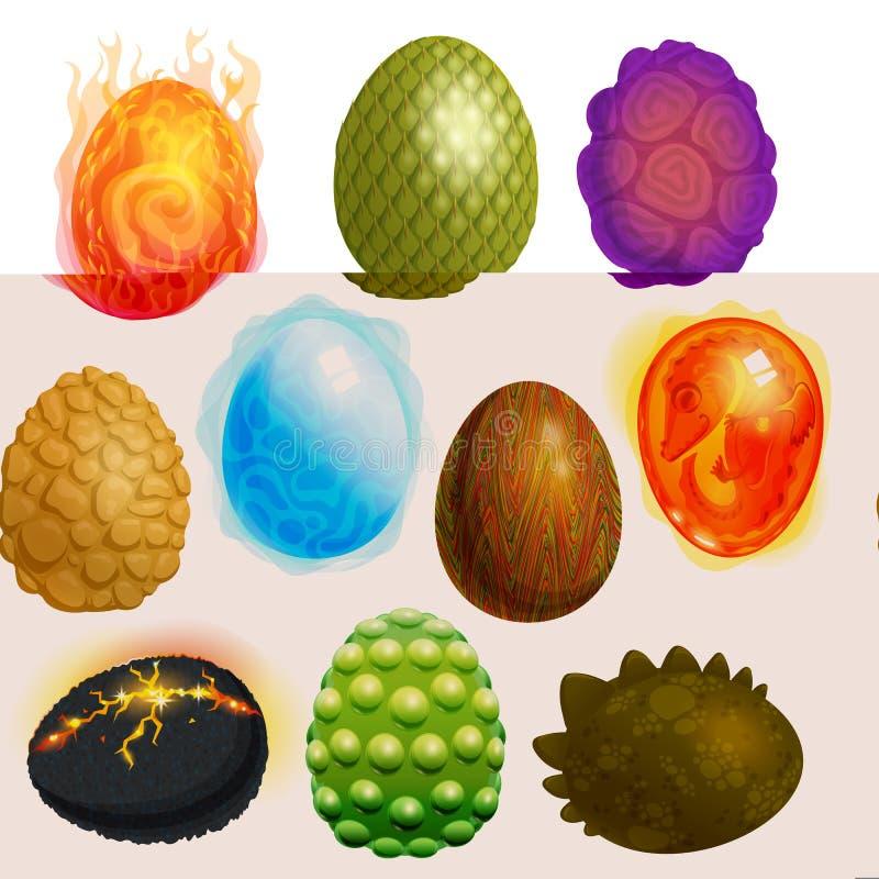 Tecknad film ägg-SHELL för drakeäggvektor och färgrik äggformad uppsättning för easter symbolillustration av fantasidinosaurieint vektor illustrationer
