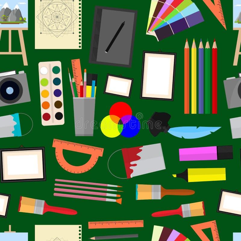 Tecknad film Art Seamless Pattern Background vektor vektor illustrationer