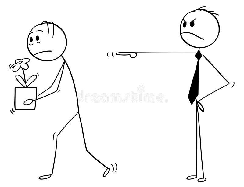 Tecknad film av affärsmannen, anställd eller arbetaren som avfyras från jobb vektor illustrationer