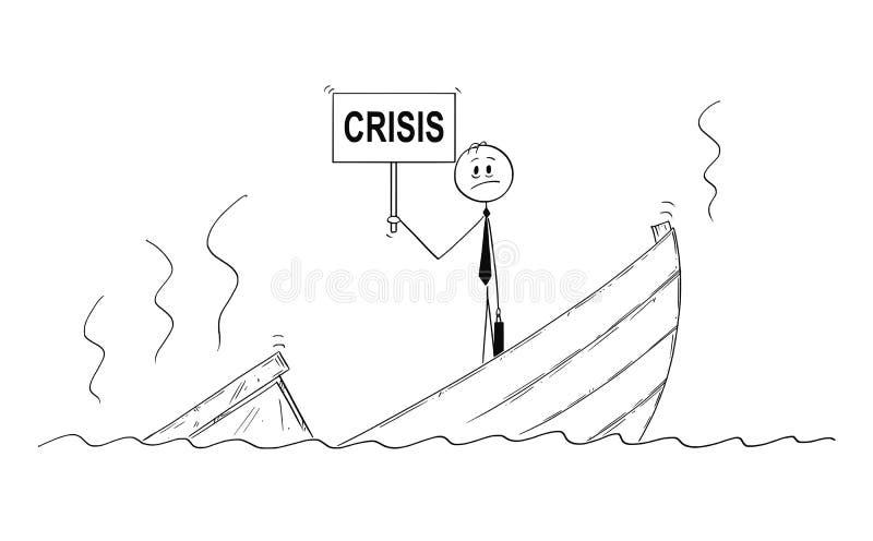 Tecknad film av affärsmannen, chefen eller politikern Standing Depressed på det sjunkande fartyget med kristecknet stock illustrationer