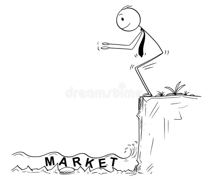 Tecknad film av affärsmannen Ready som hoppar i okänt grunt vatten av den riskabla marknadsinvesteringen royaltyfri illustrationer