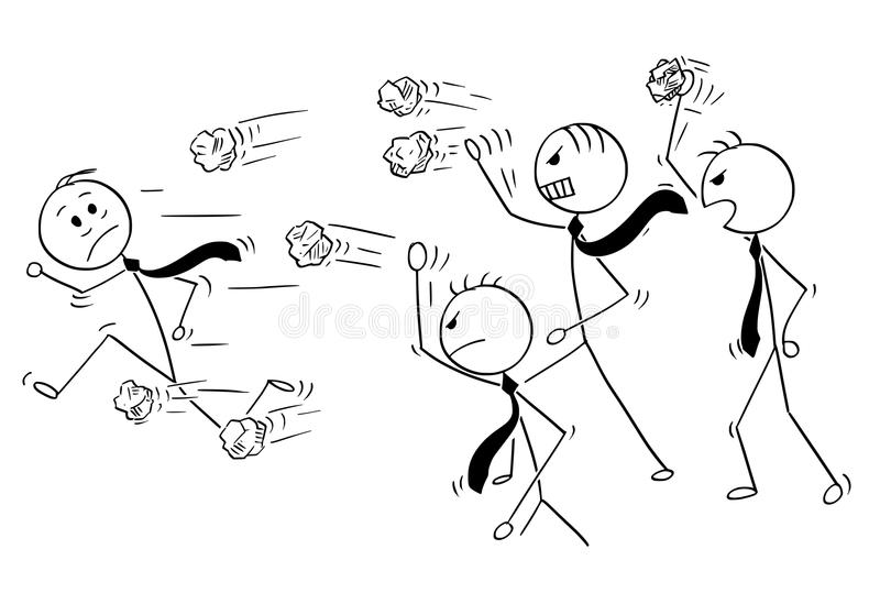 Tecknad film av affärsmannen Running från gruppen av ilsket affärsfolk som kastar pappersbollar royaltyfri illustrationer