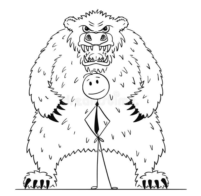 Tecknad film av affärsmannen Standing With Bear bak honom som fallande marknadsprissymbol stock illustrationer