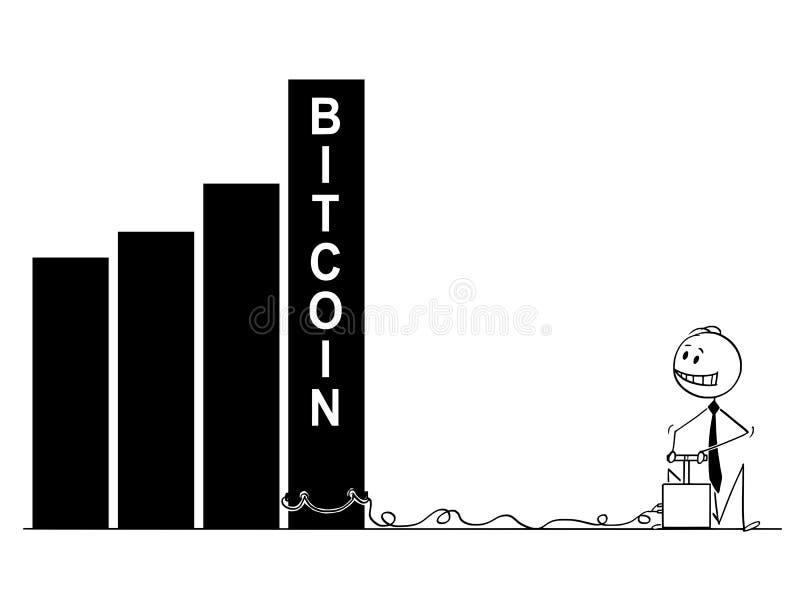 Tecknad film av affärsmannen Using Detonator och sprängmedlet som förstör det Bitcoin diagrammet eller grafen royaltyfri illustrationer