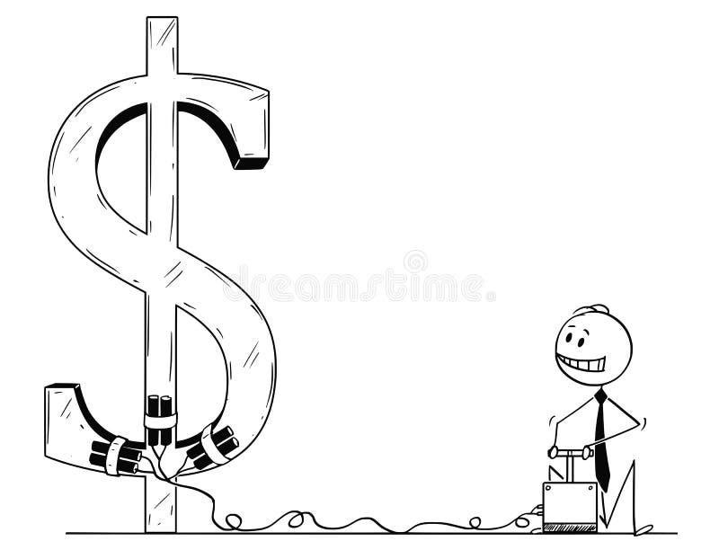 Tecknad film av affärsmannen Using Detonator och sprängmedlet som förstör dollarsymbol vektor illustrationer