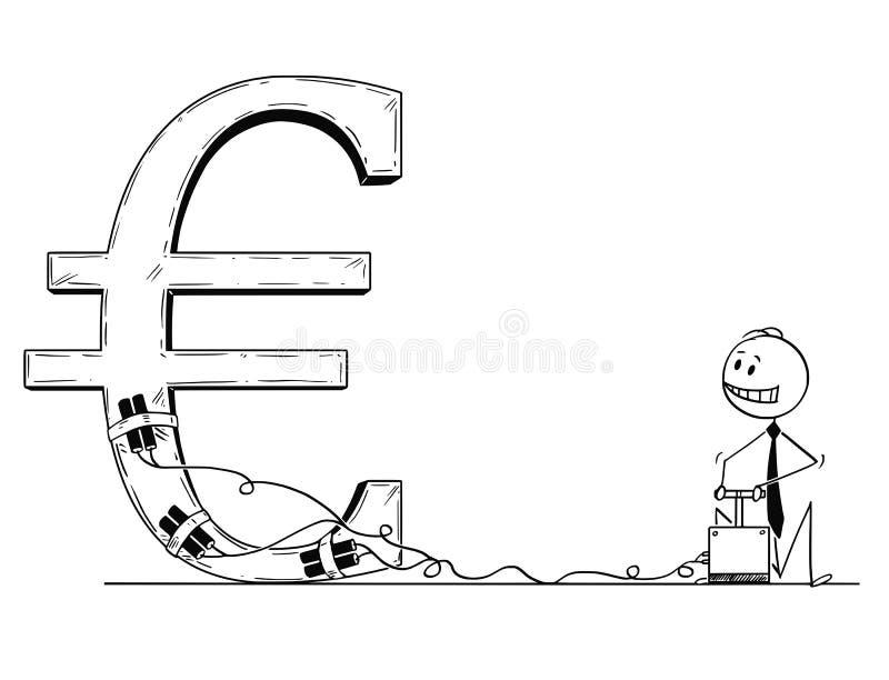 Tecknad film av affärsmannen Using Detonator och sprängmedlet som förstör eurosymbol vektor illustrationer