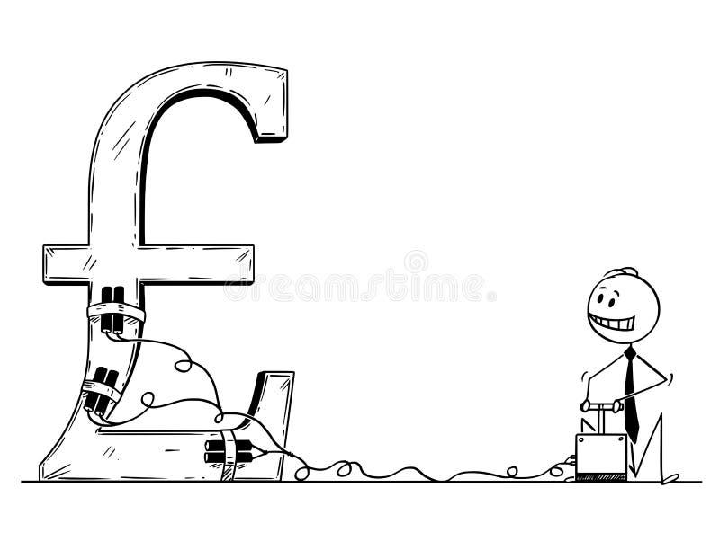 Tecknad film av affärsmannen Using Detonator och sprängmedlet som förstör pundet Sterling Symbol royaltyfri illustrationer