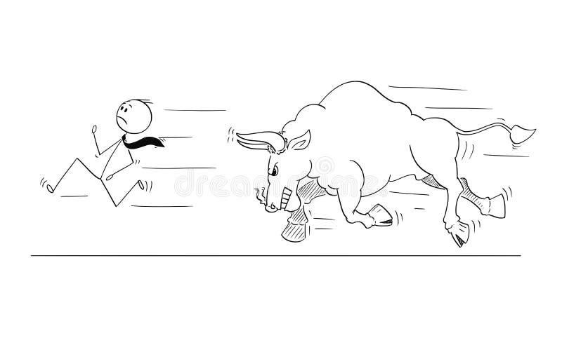 Tecknad film av affärsmanRunning Away From den ilskna tjuren som stigande marknadsprissymbol royaltyfri illustrationer