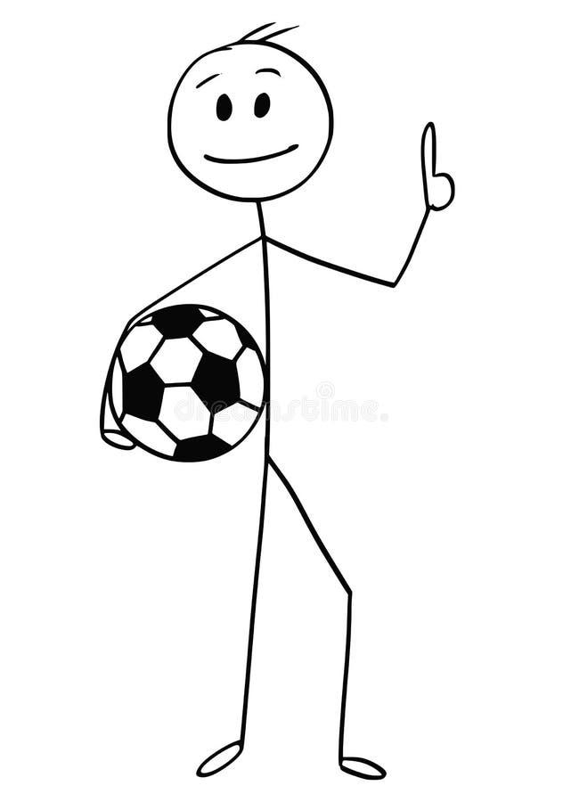 Tecknad film av att le fotboll- eller fotbollspelaren som rymmer en boll stock illustrationer