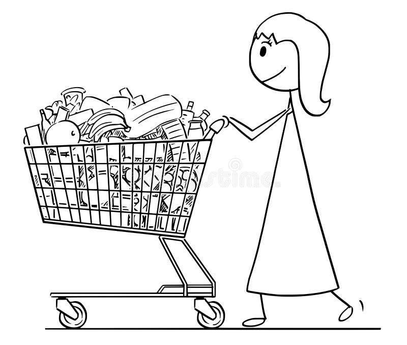 Tecknad film av att le kvinnan eller affärskvinnan Pushing Shopping Cart mycket av gods stock illustrationer