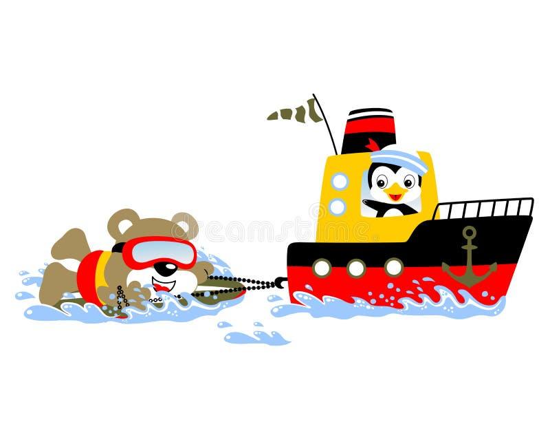 Tecknad film av att surfa dragningen med ett fartyg med björnen och pingvinet vektor illustrationer