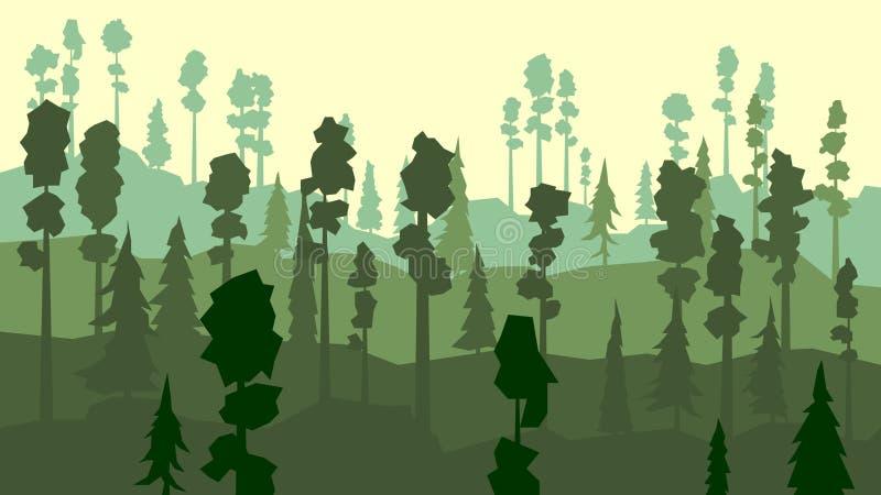 Tecknad film av barrskogen i grön signal. stock illustrationer