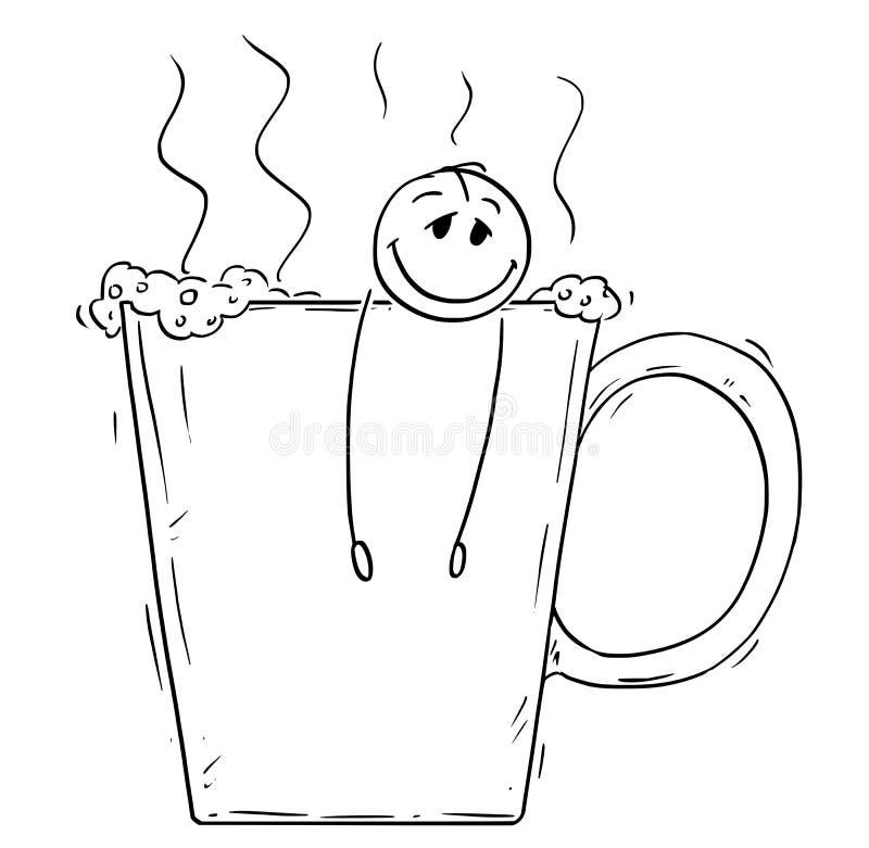 Tecknad film av den avkopplade mannen eller affärsmannen Taking ett bad i stort kopp kaffe eller te vektor illustrationer