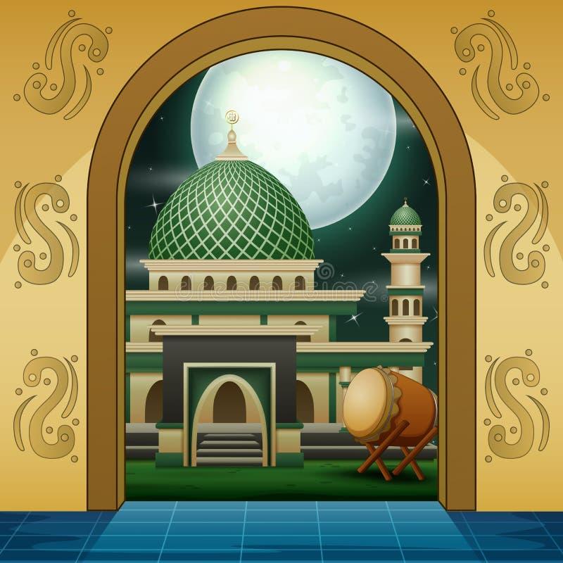Tecknad film av den guld- ing?ngen f?r muslimsk mosk? royaltyfri illustrationer