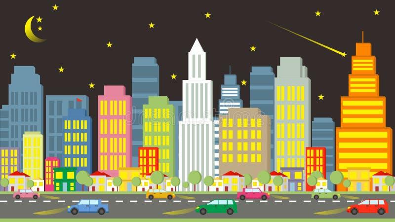 Tecknad film av den härliga staden på natten royaltyfri fotografi